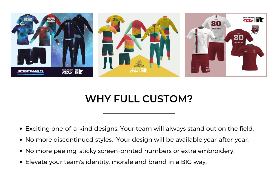 Why Full Custom? Exciting one-of-a-kind designs. No more discontinued styles. No more peeling, sticky screen-printed numbers or extra embroidery. Elevate your team's identity, moral and brand in a big way.