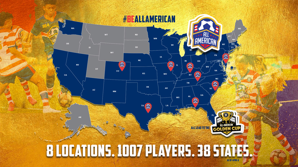 #BeAllAmerican - 8 Locations. 1007 Players. 38 States. Map of the United States