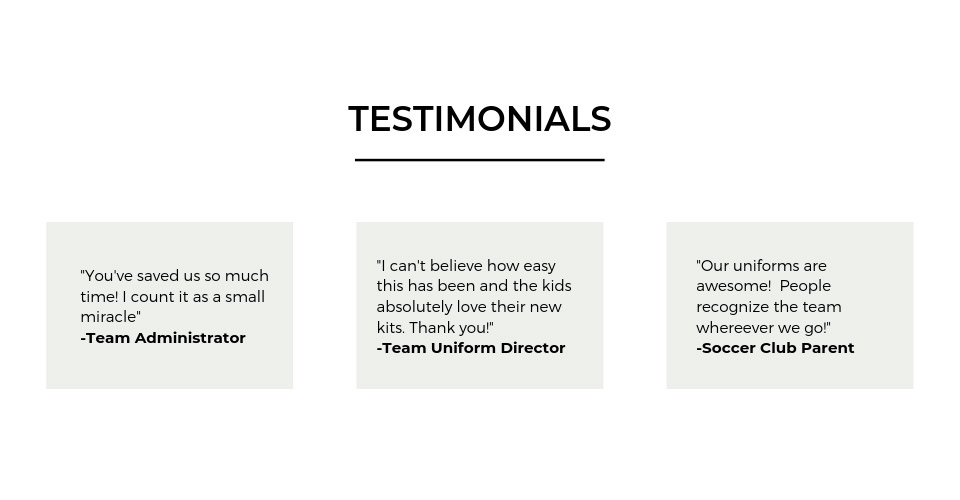 Team and Parent Testimonials