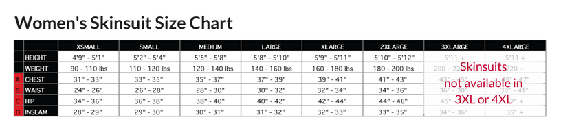 Podiumwear Women's Long Sleeve Skinsuit with Dump Pockets Size Chart