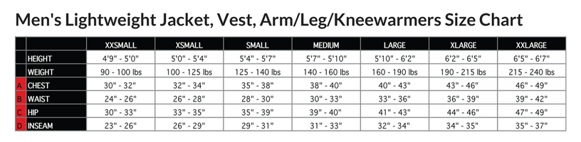 Podiumwear Men's Mid-Weight Cycling Jacket Size Chart