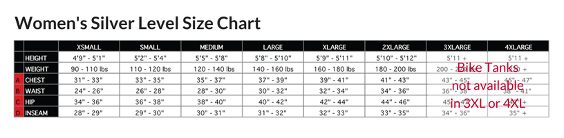 Podiumwear Women's Silver Bike Tank - Without Bra Size Chart