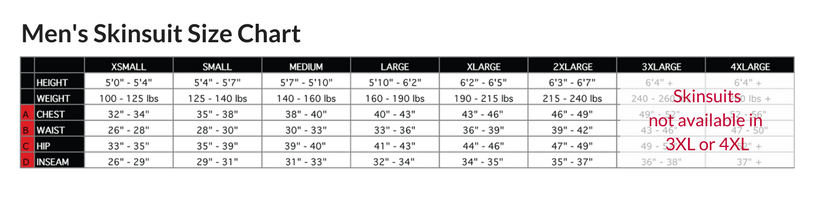 Podiumwear Men's Long Sleeve Skinsuit with Dump Pockets Size Chart