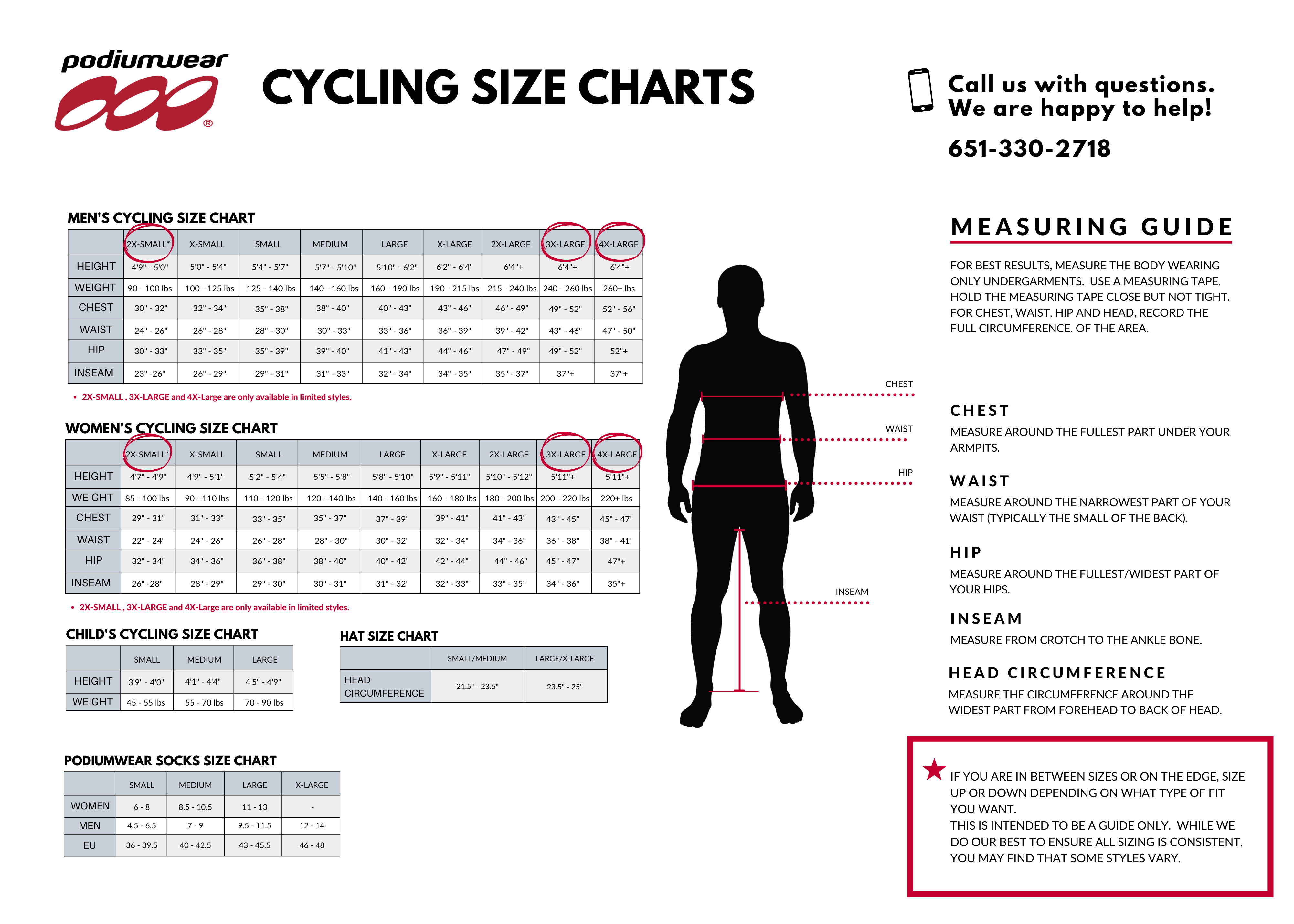 Cycling Size Chart