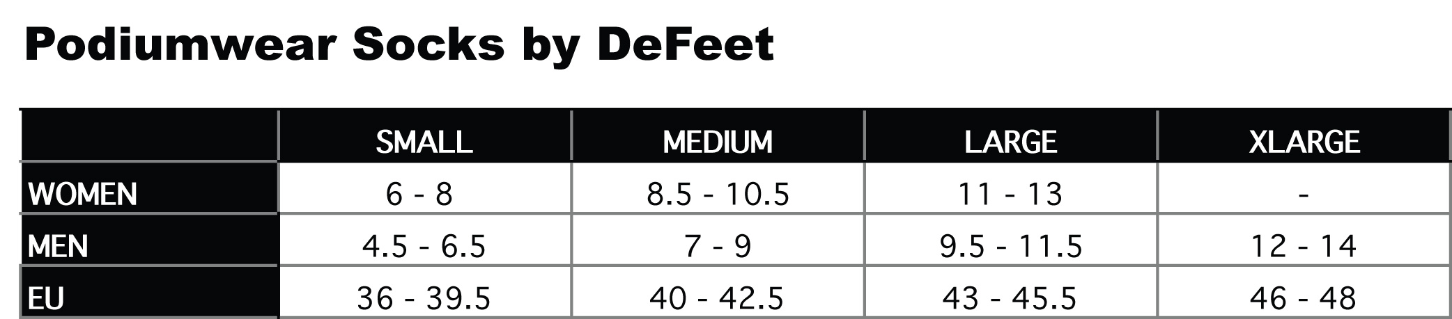 Image result for defeet size chart